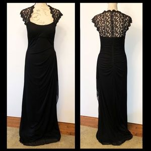 XSCAPE black dress with lace back and sleeves S8